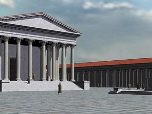 A computer rendered image of the Temple of Claudius.